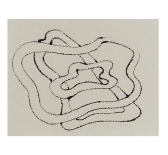 "Nova, Ink on Kozuke paper, 3"" x 4"""